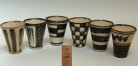 Set 6 Rare Japanese Whiskey Cups by Kiyomizu Rokubei
