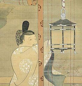 FINE MEIJI p Japanese YAMATO-E SCROLL, SAIHO