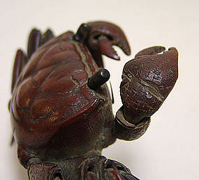 Antique Japanese Articulated Bronze Crab