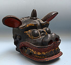 18th Century Japanese Shishi-mai Wooden Mask